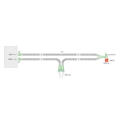Дыхательный контур 15мм с угловым соединителем с портом luer и  влагосборником, 1.6м
