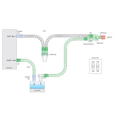 Дыхательный контур Smoothbore 22мм с проводом нагрева, влагосборником, длина 1,6м
