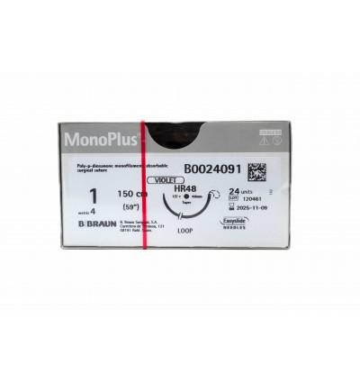 Моноплюс фиолетовый, размер USP 1, длина 150см, колющая игла 1/2 кола, длина 48 мм, петля