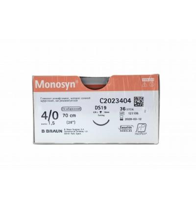 Шовный материал Моносин размер USP 4/0 длина 70 см, обратно-режущая игла, 3/8 кола, длина 19 мм