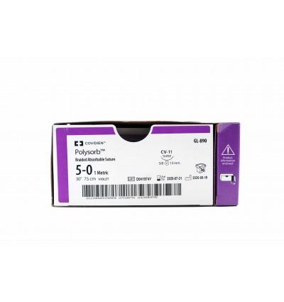 Полисорб, USP 5/0, длина нити 75см, игла 13мм 3/8 колющая, цвет нити фиолетовый